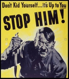 ww2-anti-german-propaganda-poster-illustrating-a-demonic-adolf-hitler-DK18NT