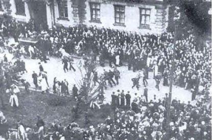 Communist-instigated mob, incited disorder at Riga's Police Headquarters