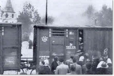 Latvians Loaded onto Cattle-Cars